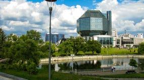 MINSK BIAŁORUŚ, Lipiec, - 10, 2018: Krajowa biblioteka Białoruś obraz stock