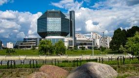 MINSK BIAŁORUŚ, Lipiec, - 10, 2018: Krajowa biblioteka Białoruś fotografia stock