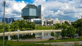 MINSK BIAŁORUŚ, Lipiec, - 10, 2018: Krajowa biblioteka Białoruś obraz royalty free