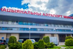 MINSK BIAŁORUŚ, MAJ, - 01 2018: Minsk Krajowego lotniska poprzedni imię Minsk-2 jest głównym lotniskiem międzynarodowym w Białoru Obraz Royalty Free