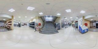 MINSK BIAŁORUŚ, MAJ, - 2018: Pełna bańczasta bezszwowa panorama 360 stopni w wnętrzu sklep z schodkami w elita tkaninach fotografia royalty free