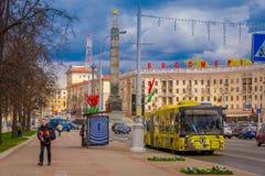 MINSK BIAŁORUŚ, MAJ, - 01, 2018: Plenerowy widok MAZ miasta Minsk samochodu autobusowa roślina jest jeden wielkie firmy wewnątrz Obrazy Stock