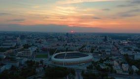 MINSK BIAŁORUŚ, MAJ, -, 2019: Powietrzny trutnia strzału widok centrum miasta Dinamo stadium i bawi się przedmioty z góry zbiory