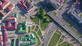 MINSK BIAŁORUŚ, MAJ, -, 2019: Powietrzny trutnia strzału widok centrum miasta z góry zbiory wideo