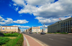 Minsk, Białoruś, niezależności aleja Obraz Stock