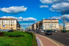 Minsk, Białoruś niezależności aleja Obrazy Stock