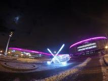 MINSK, BIAŁORUŚ: Noc widok iluminująca Minsk arena Minsk arena jest jeden główni miejsca wydarzenia dla IIHF obrazy royalty free