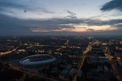 Minsk, Białoruś, Sierpień 14 2018 - Krajowy Olimpijski stadium Dinamo jest purpose futbolem wewnątrz sportowym stadium i zdjęcia royalty free
