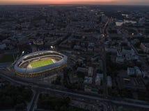 Minsk, Białoruś, Sierpień 14 2018 - Krajowy Olimpijski stadium Dinamo jest purpose futbolem wewnątrz sportowym stadium i fotografia stock