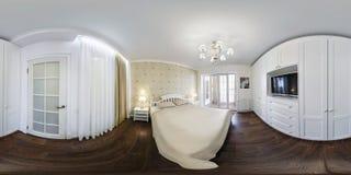 MINSK BIAŁORUŚ, SIERPIEŃ, -, 2018: pełna bezszwowa bańczasta hdri panorama 360 wewnątrz w wewnętrznej sypialni nowożytni płascy m zdjęcie royalty free
