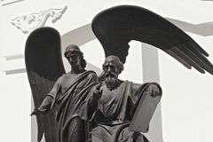 MINSK BIAŁORUŚ, SIERPIEŃ, - 01, 2013: Statua Świątobliwy apostoł John i ewangelista teolog rzeźbiarzem Aleksander Dranets Obraz Stock