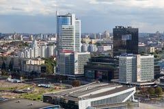 MINSK, BIELORRÚSSIA - 15 DE AGOSTO DE 2016: Ideia aérea da parte do sudoeste do Minsk Foto de Stock