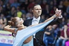 Minsk, Bielorrússia 15 de fevereiro de 2015: Asonov Ilya e Asonova Alena Imagem de Stock Royalty Free
