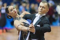 Minsk, Bielorrússia 14 de fevereiro de 2015: Danc profissional não identificado Imagens de Stock Royalty Free
