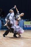Minsk, Bielorrússia 15 de fevereiro de 2015: Pares da dança de Parfyonov Deni Imagem de Stock