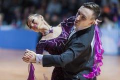 Minsk, Bielorrússia 15 de fevereiro de 2015: Pares da dança de Saraponovschi Imagens de Stock Royalty Free
