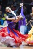 Minsk, Bielorrússia 15 de fevereiro de 2015: Pares da dança de Shmidt Danila Fotos de Stock