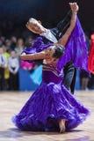 Minsk, Bielorrússia 14 de fevereiro de 2015: Pares profissionais da dança de A Fotos de Stock