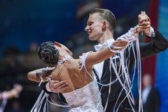 Minsk, Bielorrússia 14 de fevereiro de 2015: Pares profissionais da dança de A Foto de Stock