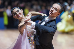Minsk, Bielorrússia 14 de fevereiro de 2015: Pares profissionais da dança de K Imagens de Stock Royalty Free