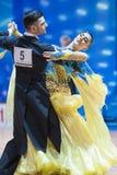 Minsk, Bielorrússia 14 de fevereiro de 2015: Pares profissionais da dança de P Fotografia de Stock