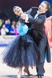 Minsk, Bielorrússia 14 de fevereiro de 2015: Pares profissionais da dança de V Foto de Stock