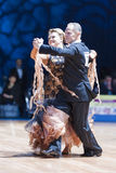 Minsk, Bielorrússia 14 de fevereiro de 2015: Pares superiores da dança de Yaroshe Imagem de Stock Royalty Free
