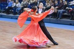 Minsk-Bielorrússia, fevereiro, 23: O par não identificado da dança executa Imagem de Stock Royalty Free