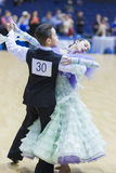 Minsk-Bielorrússia, fevereiro, 23: O par não identificado da dança executa Fotografia de Stock