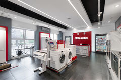Minsk, Bielorrússia - junho 25,2017: Escritório de vendas de Miele em Minsk Miel Imagens de Stock Royalty Free
