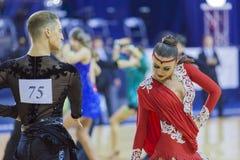 Minsk-Bielorrússia, outubro 4,2014: Dança profissional não identificada c Fotos de Stock Royalty Free