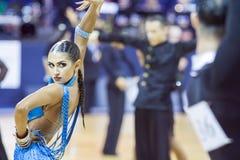 Minsk-Bielorrússia, outubro 4,2014: Dança profissional não identificada c Imagens de Stock Royalty Free