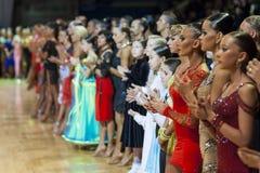 Minsk-Bielorrússia, outubro 4,2014: Dança profissional não identificada c Fotografia de Stock