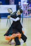 Minsk-Bielorrússia, outubro 4,2014: Os pares não identificados da dança executam Imagem de Stock Royalty Free