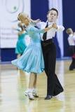 Minsk-Bielorrússia, outubro 4,2014: Os pares não identificados da dança executam Fotografia de Stock Royalty Free