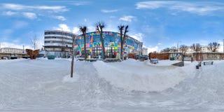 Minsk, Bielorrússia - 2018: panorama 3D esférico do pátio do sótão do partido com lugar para sentar-se com ângulo de visão 360 Ap Foto de Stock