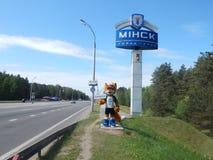 minsk Bielorr?ssia - 05 20 2019 LESIK que a mascote dos ?s jogos europeus convida a Minsk imagem de stock royalty free