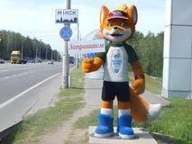 minsk Bielorr?ssia - 05 20 2019 LESIK que a mascote dos ?s jogos europeus convida a Minsk foto de stock royalty free
