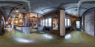 MINSK, BIELORRUSIA - ABRIL DE 2017: panorama esférico inconsútil completo 360 grados en vestuario interior y recepción en oficina foto de archivo libre de regalías