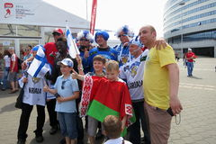 Minsk Bielorrusia: Campeonato 2014 del mundo del hockey sobre hielo Foto de archivo libre de regalías