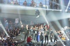 MINSK, BIELORRUSIA - 17 de enero de 2016 campeonato de Starladder de Dota 2 y huelga contraria: Ofensiva global Team Alliance Imagen de archivo