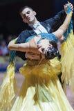 Minsk, Bielorrusia 14 de febrero de 2015: Pares profesionales de la danza de P Fotografía de archivo