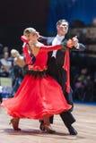 Minsk, Bielorrusia 14 de febrero de 2015: Pares profesionales de la danza de S Fotografía de archivo