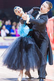 Minsk, Bielorrusia 14 de febrero de 2015: Pares profesionales de la danza de V Foto de archivo