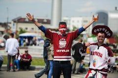 MINSK, BIELORRUSIA - 10 DE MAYO DE 2014: El campeonato del hockey sobre hielo del mundo Fotografía de archivo libre de regalías