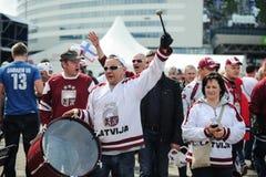 MINSK, BIELORRUSIA - 10 DE MAYO DE 2014: El campeonato del hockey sobre hielo del mundo Fotos de archivo libres de regalías