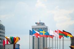 MINSK, BIELORRUSIA - 10 DE MAYO DE 2014: El campeonato del hockey sobre hielo del mundo Fotografía de archivo