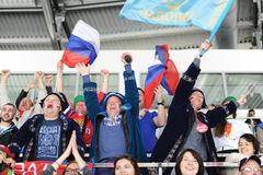 MINSK, BIELORRUSIA - 10 DE MAYO DE 2014: El campeonato del hockey sobre hielo del mundo Imagen de archivo libre de regalías