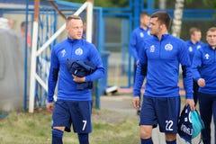 MINSK, BIELORRUSIA - 14 DE MAYO DE 2018: Sonrisa del jugador de fútbol BYKAU ARTSEM antes del partido de fútbol bielorruso de la  Imagen de archivo libre de regalías