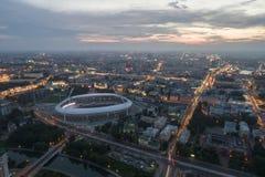 Minsk, Bielorrusia, el 14 de agosto de 2018 - el estadio Olímpico nacional Dinamo es un fútbol multiusos y un estadio atlético ad imagen de archivo